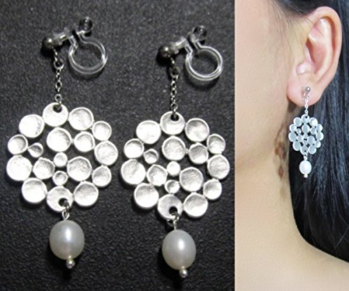 - Matte Silver White Freshwater Pearl Dot Pattern Dangle Wedding Bridal Invisible Clip On Earrings, Clip-ons Non Pierced Earrings