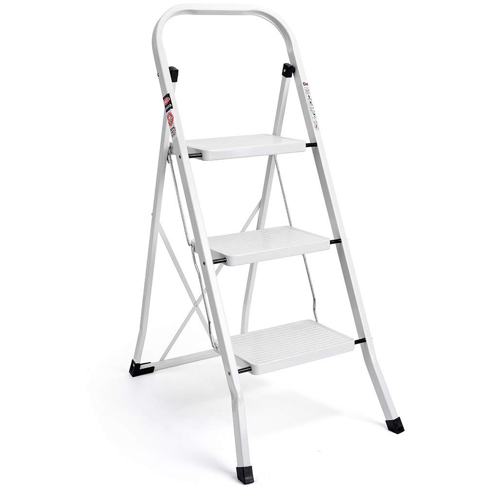 Delxo 3 Step Ladder Folding Step Stool Ladder with Handgrip Anti-Slip Sturdy and Wide Pedal Multi-Use for Household and Office Portable Step Stool Steel 330lbs White(3 Step) by Delxo