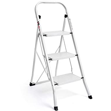 Delxo 3 Step Ladder Folding Step Stool Ladder with Handgrip Anti-Slip Sturdy and Wide Pedal Multi-Use for Household and Office Portable Step Stool Steel 330lbs White(3 Step)