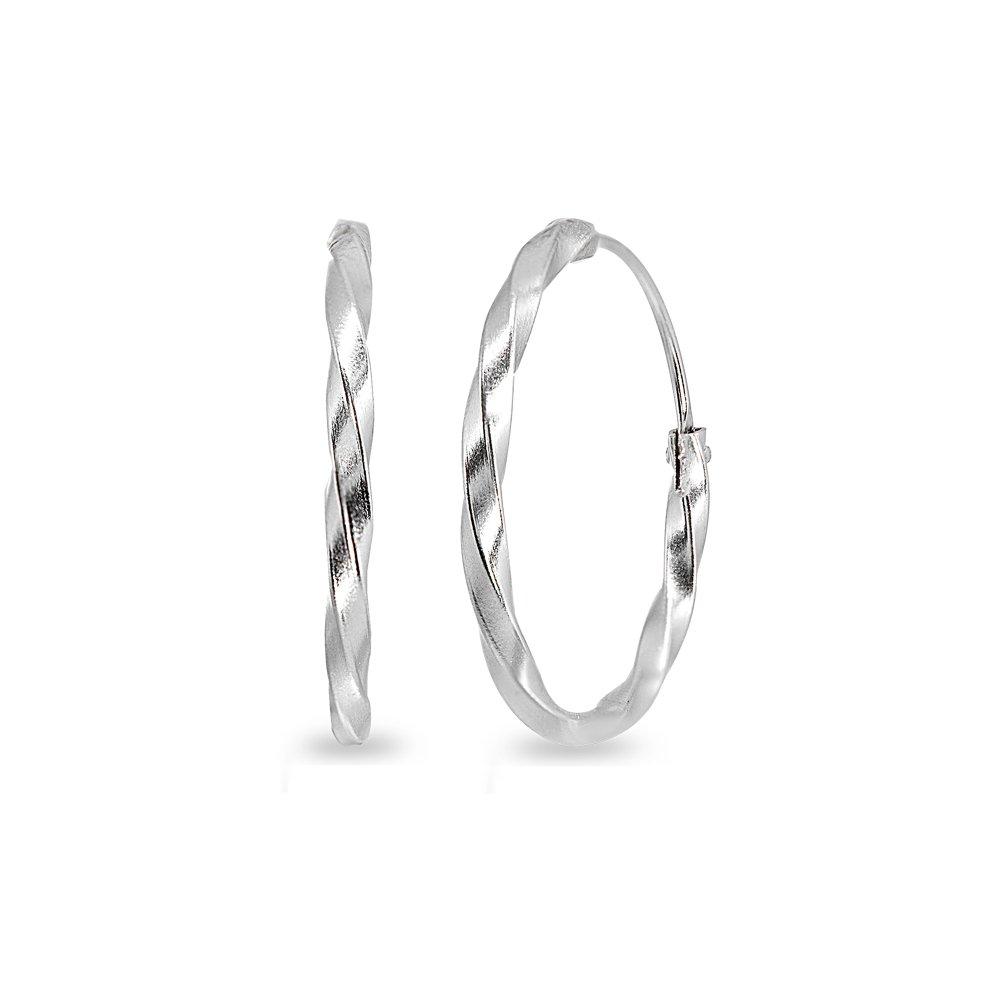 Sterling Silver Twist Endless 35mm Round Lightweight Unisex Hoop Earrings