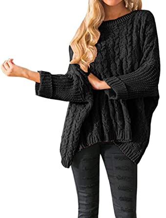 cf58584777e58 Womens Oversized Sweaters Plus Size Long Sleeve Cable Knit Chunky Pullover  Sweater Jumper Tops Black