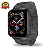 Smartwatch Bands for Apple Watch Band Series 4/3/2/1, Milanese Loop Band Stainless Steel with Adjustable Magnetic Closure Replacement Sport Bands Compatible with iWatch Band(42/44mm Black)