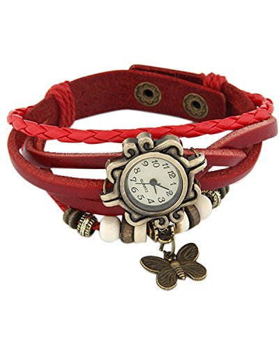 Young & Forever Women's Wedding Special Elegant Leather Vintage Butterfly Bracelet Watch Gold Toned by Young & Forever