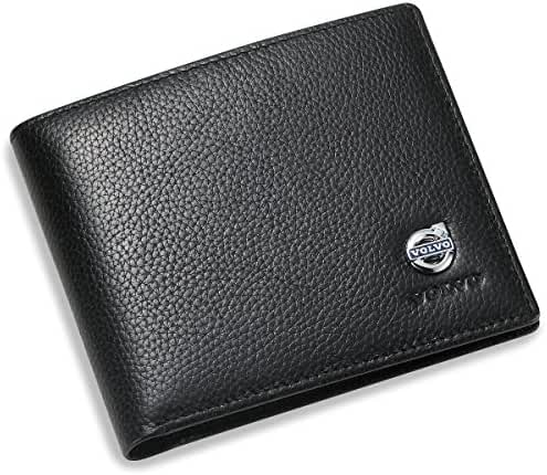 Volvo Bifold Wallet with 3 Credit Card Slots and ID Window - Genuine Leather