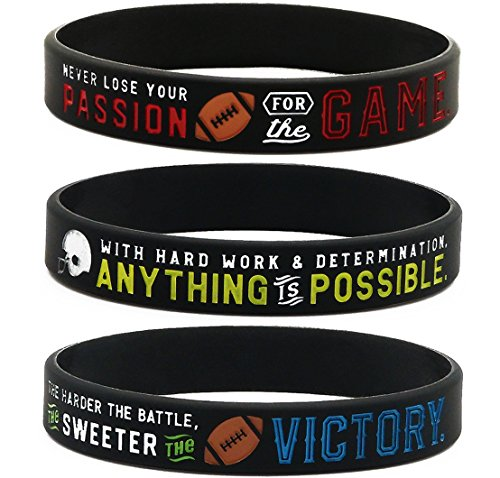 (Inkstone Football Silicone Wristbands with Motivational Sayings (6-Pack) - Football Bracelets Jewelry Gifts)