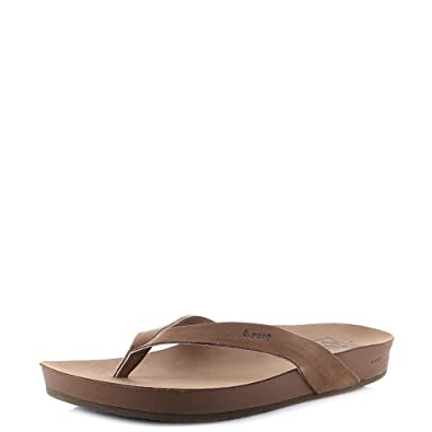 40965c60ee24 Reef Womens Cushion Bounce Court LE Cocoa Brown Tan Leather Flip Flops Size  7  Amazon.co.uk  Shoes   Bags