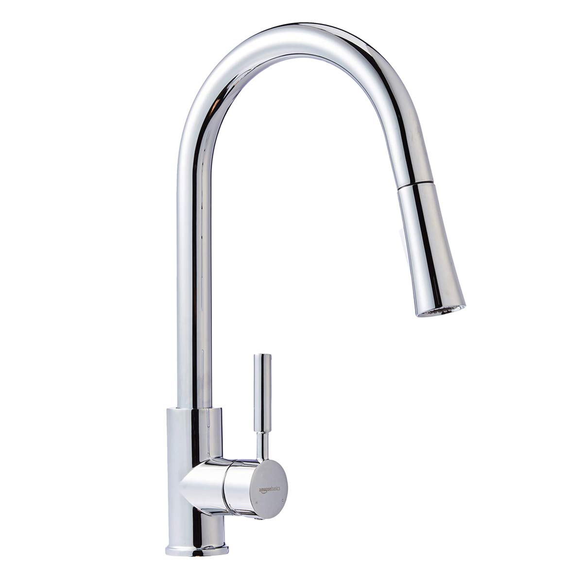 AmazonBasics Modern Single-Handled Kitchen Pull-Down Sprayer Faucet - Polished Chrome