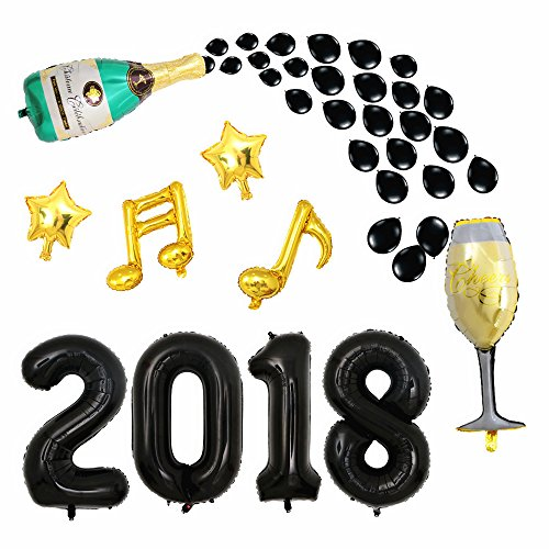 40inch Black 2018 Balloons Graduation Party Balloons with Champagne Bottle Goblet Star Balloons for Grad Event Anniversary Party Decorations by CUEA