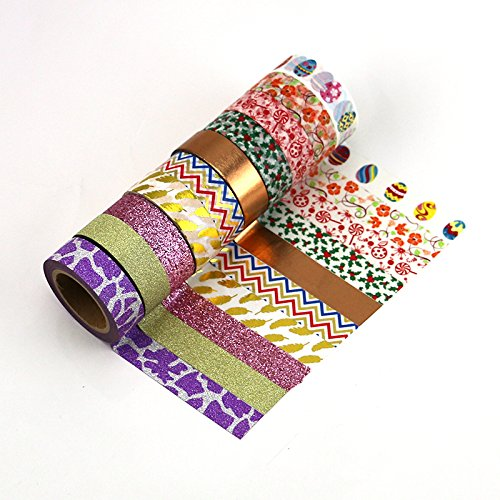 Mix colorful washi tpae,gold foil washi tpae,bling bling glitter tape and the glitter powder tape set(Set of 10 rolls) (Candy Foil Roll)