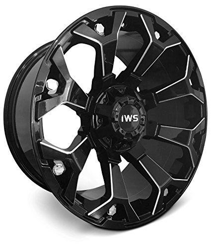 New 20x10 Inch Gloss Black Wheel 6x135/6X139.7 Dual Drilled -12mm IWS Series 8025 Machined Rim - Set of ()
