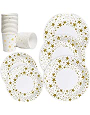 """Disposable Everyday Paper Plates and Cups Set,7""""/9"""" Dinner and Dessert Plates-100 Count,Biodegradable 9oz Hot Cup-50 Pcs,Gold Dot Printed Disposable Plate for Bridal Baby Shower,Wedding,Birthday Party"""