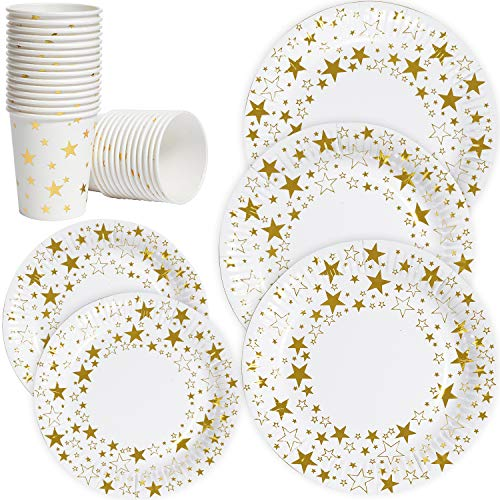 Luckypack disposable paper plates and cups dinner service set for 50;7