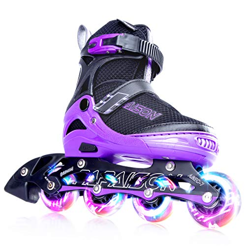PAPAISON SPORTS Adjustable Inline Skates for Kids or Adults with Full Light Up LED Wheels,Safe and Durable Outdoor Rollerblades