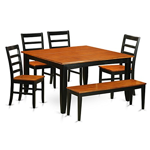 East West Furniture PARF6-BLK-W 6 PC Dining Room Table Set-Dining Table & 4 Wood Seat Chairs & One Benches