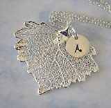 Cottonwood Silver Leaf Initial Necklace Personalized Heart Shape