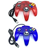 Bowink Classic Retro N64 Bit USB Wired Controller for PC (Clear Red and Clear Blue)