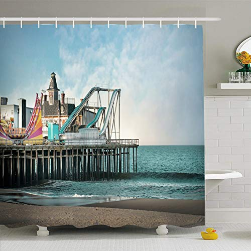Ahawoso Shower Curtain 66x72 Inches Sand Boardwalk Seaside Heights Nj Amusement Parks Seashore Jersey Vintage Shore Beach Sandy Summer Waterproof Polyester Fabric Bathroom Curtains Set with ()
