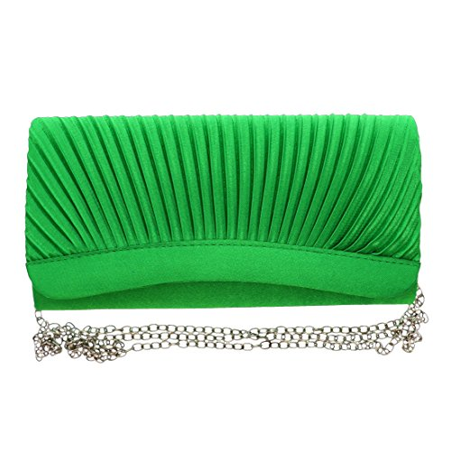 Green Pleated Satin Evening Cocktail Bag