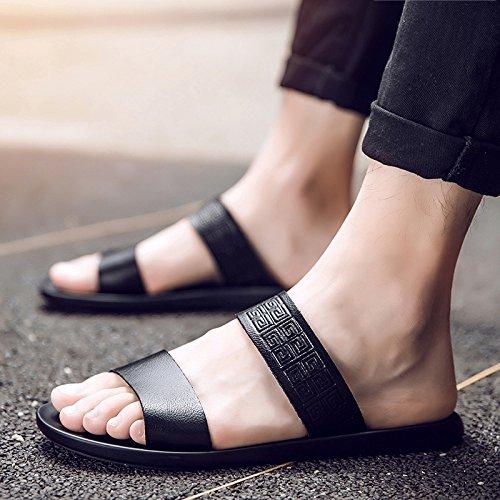 Xing Lin Sandalias De Hombre Flip-Flops Verano Hombre De Inglaterra Sandalias Clip Nuevo Cool Antideslizante Sandalias Zapatos Tendencia 40 Palabra Negro