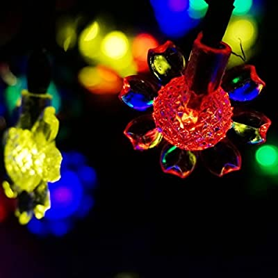 LED SopoTek Solar Powered String Lights String, 4.8m 16.4ft 20led Sunflower for Gardens, Patio, Lawn, Yard, Porch, Garden Fence, Christmas Camper, Parties,Outdoor Activities(20LED Multi-colored)