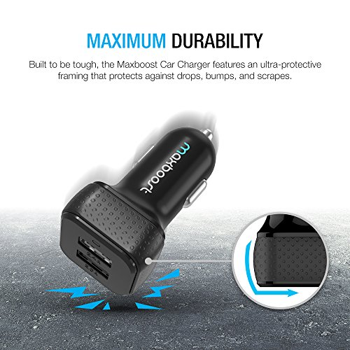Car Charger, Maxboost 4.8A/24W 2 USB Smart Port Car Charger [Black] For iPhone X 8 7 6S 6 Plus, 5 SE 5S 5 5C, Galaxy S8 S7 S6 Edge, Note 8 4, LG G6 G5 V10 V20, HTC,Nexus 5X 6P,Pixel,iPad Pro Portable