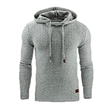 Uniqstore Men's Spring Autumn Warm Hoodie Fashion Hooded Sweatshirt Coat Jacket Outwear Sweater Light Grey XL