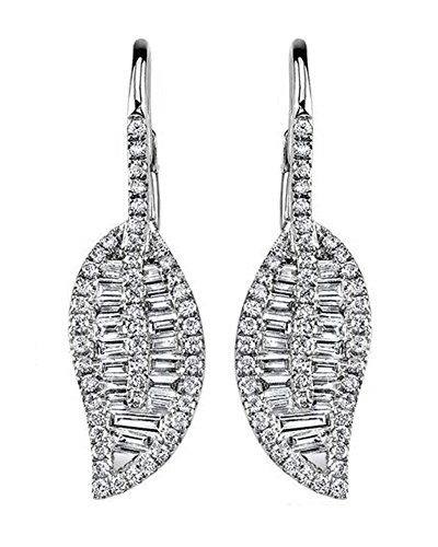 tte & Round Cut Cubic Zirconia Dangle Leaf Earrings In 18K White Gold Over Sterling Silver ()