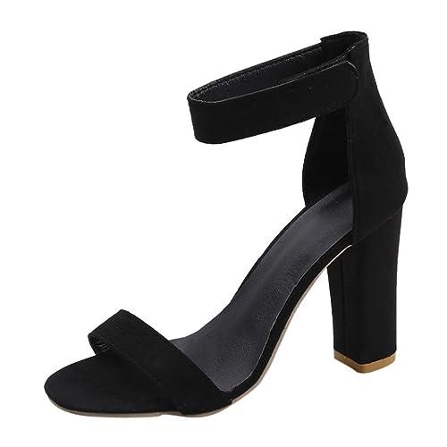 PAOLIAN Zapatos de tacón ancho altas para mujer Verano 2018 Moda Clásicos Terciopelo Sólido Talla grande