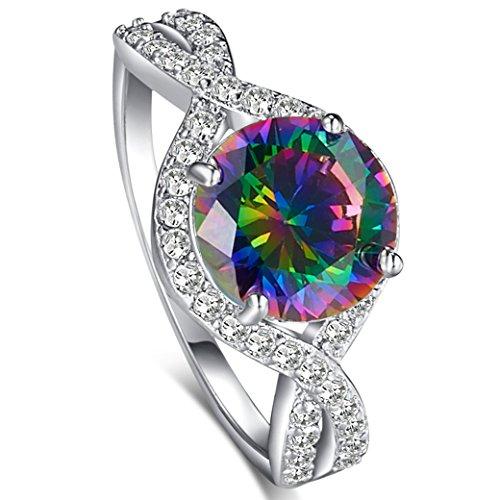 PAKULA Women's Fashion Simple 6mm Round Cut Rainbow Topaz CZ Engagement Ring ()