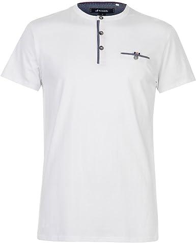 Kangol Hombre Chambray Grandad Camiseta Manga Corta Blanco XXL ...