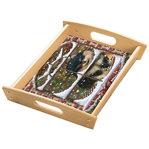 Please Come Home For Christmas Pomeranians Sitting In Window Wood Serving Tray with Handles Natural