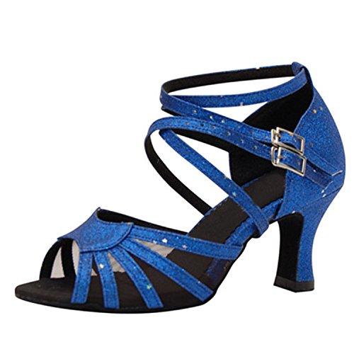 Dance Danse Femmes Tango Danse Cadeaux Dance Chaussures LEIT 37 7CM Blue YFF Latine qOHwFtt