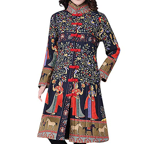 Toimoth Women Stand Collar Chinese Style Costume Plus Size Winter Button Coat Folk-Custom Cotton-Padded Jacket(Brown,XL) from Toimoth Coat