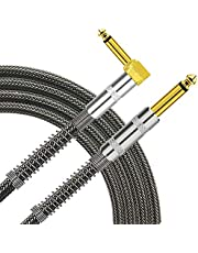 TISINO Cable de guitarra, cable de 1/4 pulgadas de ángulo recto a recto para guitarra eléctrica, bajo, amplificador, teclado, mandolina