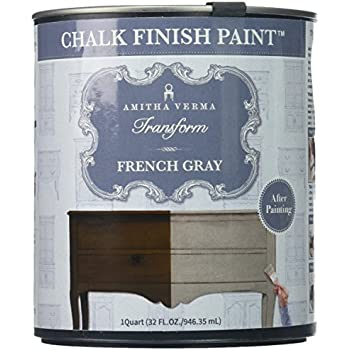 Amitha Verma Chalk Finish Paint, No Prep, One Coat, Fast Drying | DIY Makeover for Cabinets, Furniture & More, 1 Quart, (French Gray)