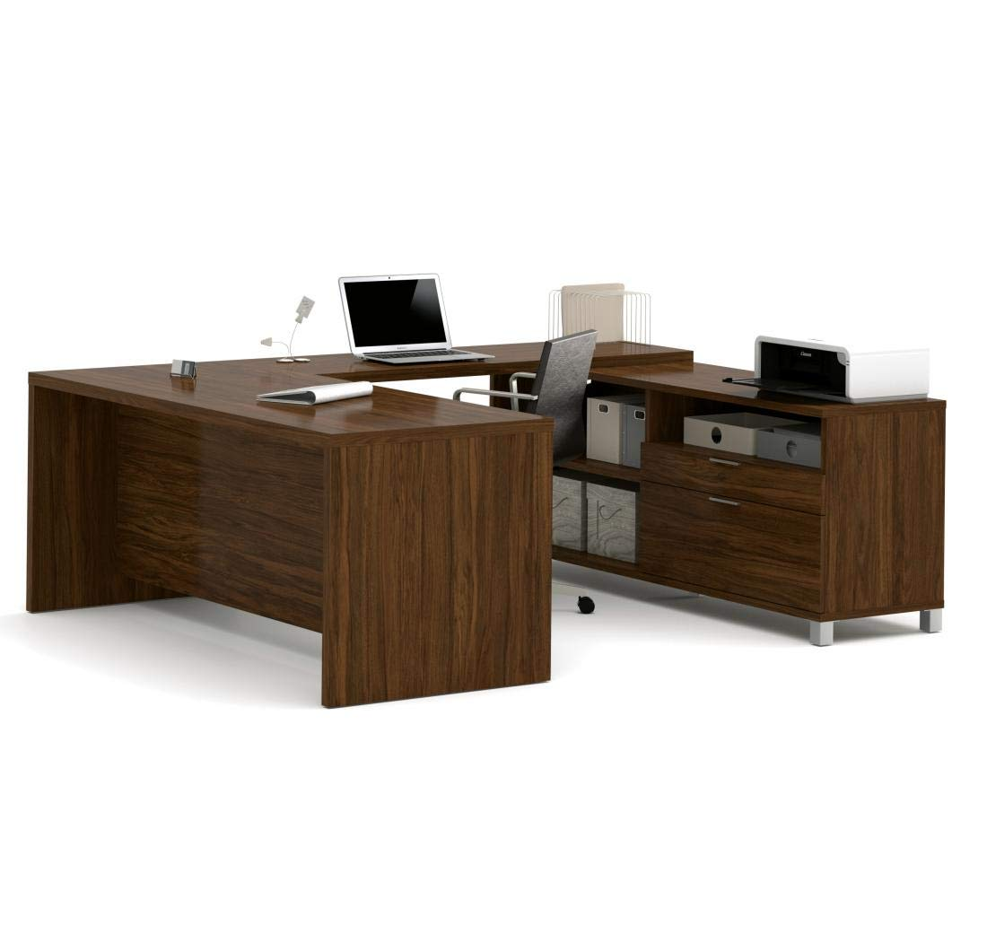 Bestar Pro-Linea U-Desk, Oak Barrel