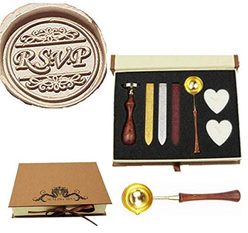 MNYR Retro RSVP Decorative Sealing Wax Seal Stamp Wood Handle Melting Spoon Wax Stick Candle Gift Book Box kit Wedding Invitation Embellishment Holiday Card Christmas Gift Wrap Package Seal Stamp ()