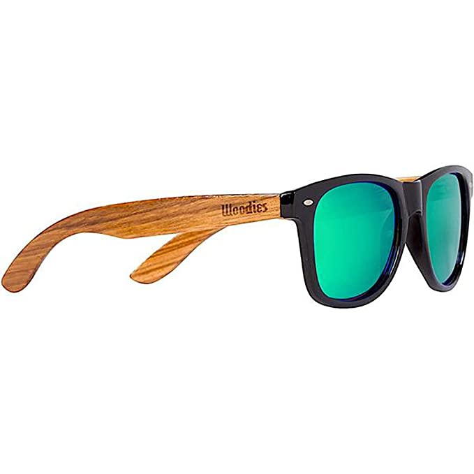 Woodies Zebra Wood Sunglasses with Green Mirror Polarized Lenses for Men and Women