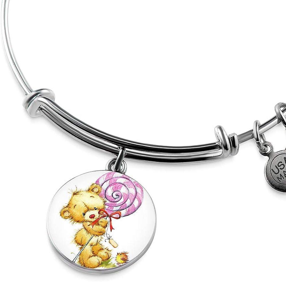 NanaTheNoodle Teddy Bear with A Big Lollipop Luxury Bangle