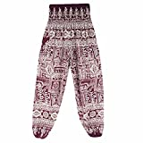 Hunzed Women Yoga Pants, { Thai Harem Trousers } { Boho Festival Yoga Leggings } Casual { Sports High Waist Yoga Pants } For Ladies (Wine, one size)
