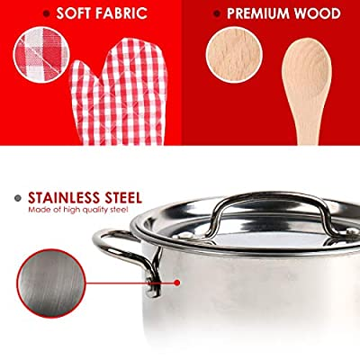 20 Pieces Kids Pots and Pans,Stainless Steel Toys Cookware for Kids Toddler, Pretend Play Cooking Toys with Utensils and Grocery Play Food for 2 3 4 5 6 7 Girls Boys, Kitchen Playset Accessories: Toys & Games