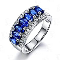 Blue Sapphire CZ Engagement Ring 10KT White Gold Filled Men/Womens Gift (8)