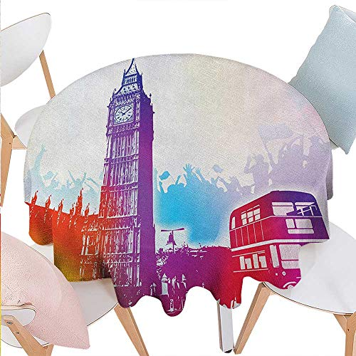 BlountDecor London Washable Round Tablecloth Historical Big Ben and Bus Great Bell Clock Tower UK Europe Street Landmark Waterproof Round Tablecloths D54 Purple Red Yellow