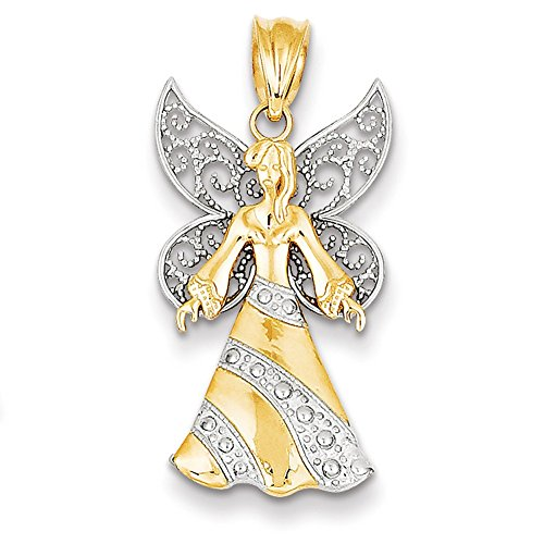 Lex & Lu 14k Two-tone Gold Angel Pendant LAL78246-Prime