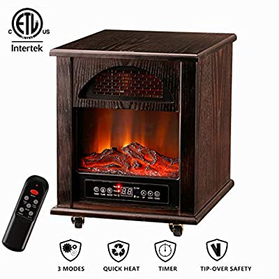 Leisurelife Electric Digital Fireplace Stove with 3D Flame Remote and Timer-Adjustable Infrared Heater Thermostat Dark Walnut Wooden Max1500W for 1000sq.ft