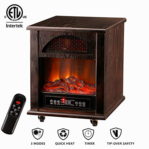 Leisurelife Electric Digital Fireplace Stove with 3D Flame Remote and Timer-Adjustable Infrared Heater Thermostat Dark Walnut Wooden Max1500W for 1000sq.ft ()