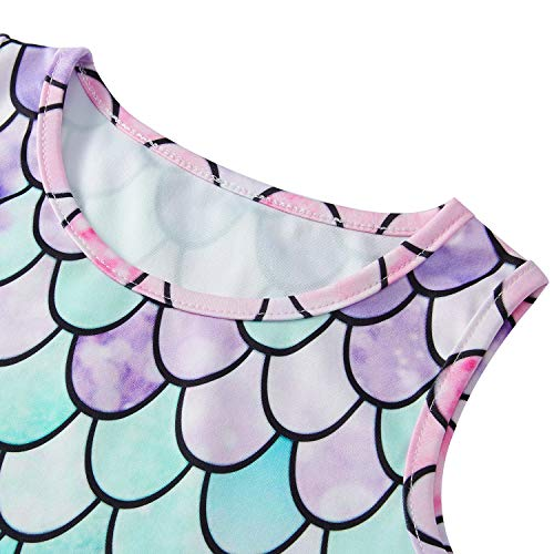 BFUSTYLE 5t Dresses for Girls Little Girls Round Neck Sleeveless Slim Fit Casual Dresses Pink Green Purple Fish Scale Dress Lets be Mermaid (S Mermaid Pink)