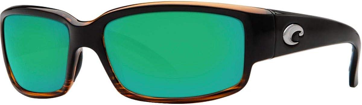 Costa Del Mar Men's Caballito Polarized Rectangular Sunglasses, Shiny Coconut Fade/Copper Green Mirrored Polarized-580P, 59 mm