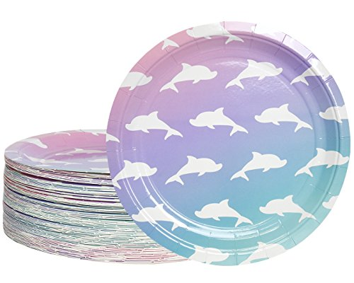 Disposable Plates - 80-Count Paper Plates, Dolphin Party Supplies for Appetizer, Lunch, Dinner, and Dessert, Kids Birthdays, 9 inches in Diameter]()