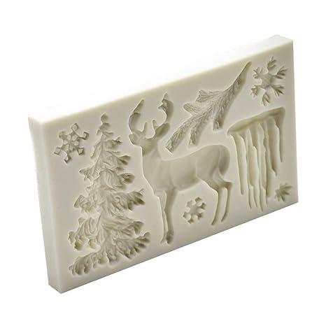 BESTONZON DIY 3D Fondant de Silicona Molde de Pastel de Silicona Molde de Arcilla Polimérica Decoración